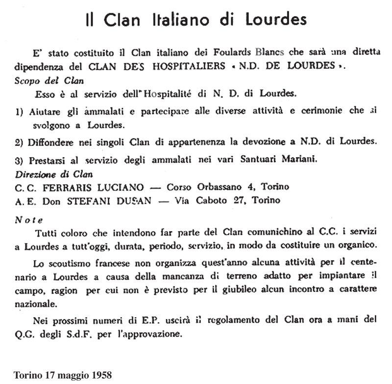 costituzione clan des hospitaliers italiano 17 maggio 1858